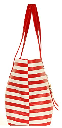 Ilan Fernandez Damen Tote & Shoppers Rot-Weiß AB-8094-RED