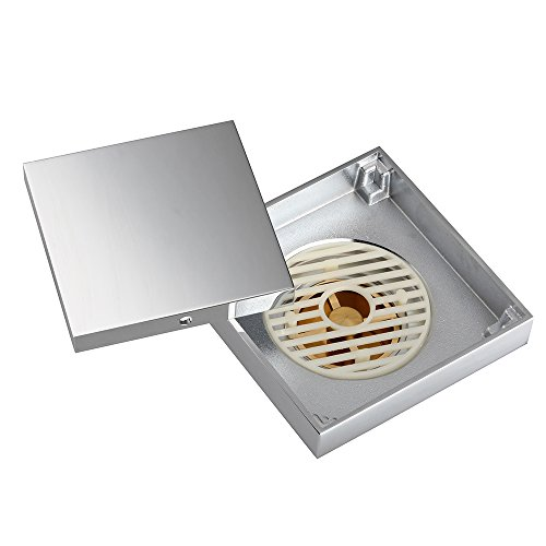 "Yescom 4""x4"" Square Copper Floor Drain with Chrome Plainted Removable Tile Insert Grate for Shower Bathroom Kitchen"