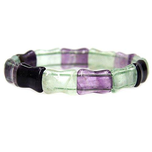 Amandastone Gemstone Natural Rainbow Fluorite Bamboo Festival Beaded Stretchable Charm Bracelet - Stone Gemstone Jewelry Multi Bracelets