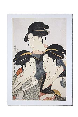 Made in Japan Ukiyoe Art Prints on Special Japanese All Handmade Washi Paper (Three Beauties by Kitagawa Utamaro)