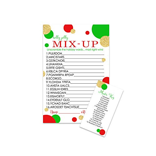 Christmas Party Game Word Scramble Card (25 Pack) Great for Holiday Parties, Family Gatherings, Festive Events Red, Green and Gold (For Good Words Christmas)