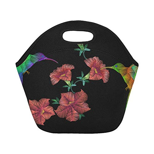 Over Crewel Embroidery - Insulated Neoprene Lunch Bag Embroidery Crewel Hummingbird Bird Flying Over Pet Large Size Reusable Thermal Thick Lunch Tote Bags For Lunch Boxes For Outdoors,work, Office, School