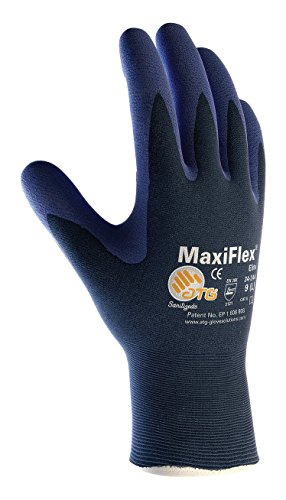 (MaxiFlex Elite 34-244/M Ultra Light Weight Seamless Knit Nylon Glove with Nitrile Coated Micro-Foam Grip on Palm and Fingers, Micro Dot Palm Pack of 12)