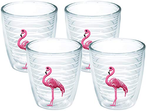 (Tervis 1035792 Flamingo Tumbler with Emblem 4 Pack 12oz, Clear)