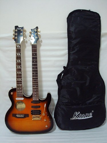 Ktone 6/6 String Acoustic Electric Double Neck Guitar, Sunburst with Padded Gig Bag