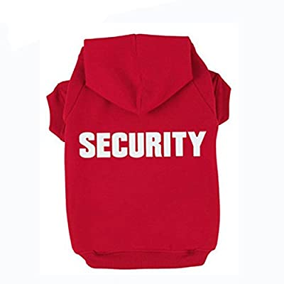 Rdc Pet Dog Hoodies Security Printed, Apparel Dog Sweatshirt Warm Sweater, Cotton Jacket Coat for Small Dog & Medium Dog & Cat (Red) by Jia Xing Bei Bao Pet Supplies Co., Ltd