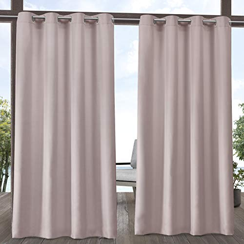 """Set of 2 108""""x54"""" Outdoor Solid Cabana Grommet Top Light Filtering Curtain Panel Blush - Exclusive Home"""