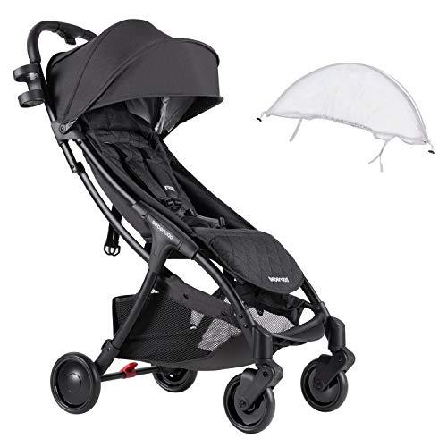 Compact Stroller 2020 Ultra Lightweight Baby Stroller + Universal Mosquito Net Dark Grey & White