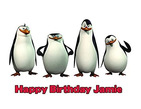 PENGUIN  BIRTHDAY  CAKE TOPPER A4  EDIBLE ICED// ICING   PERSONALISED