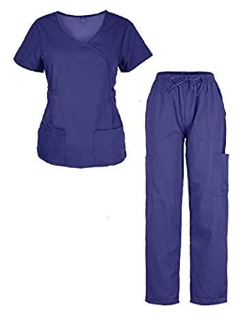 G Med Women's Garterized Waist Scrub Top and Pant 2 PC Sets(SET-MED,DBLA1-2XL) COLOR NAVY - Topaz Button