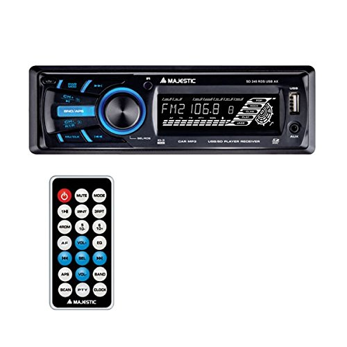 Majestic SD 245 RDS USB AX - Autoradio FM RDS PLL, Ingressi USB/SD/AUX-IN, 120W (30W x 4ch), Nero New Majestic spa SD-245B