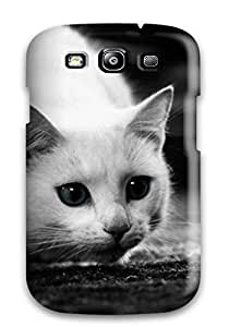Fashion Tpu Case For Galaxy S3- Black And White Crouching Cat Defender Case Cover