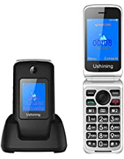 Ukuu 3G Inklapbare mobiele telefoon zonder abonnement, met grote toetsen, 2,8 inch + 1,8 inch dual display, 1200 mAh batterij, lange standby-tijd, mobiele telefoon met laadstation, FM-radio voor senioren, zwart