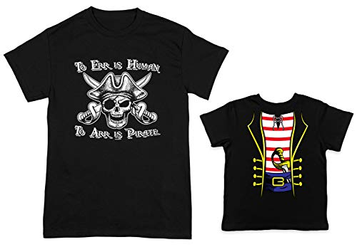 HAASE UNLIMITED to ERR is Human/Pirate Costume 2-Pack Toddler & Men's T-Shirt (Black/Black, XXX-Large/24 Months) ()