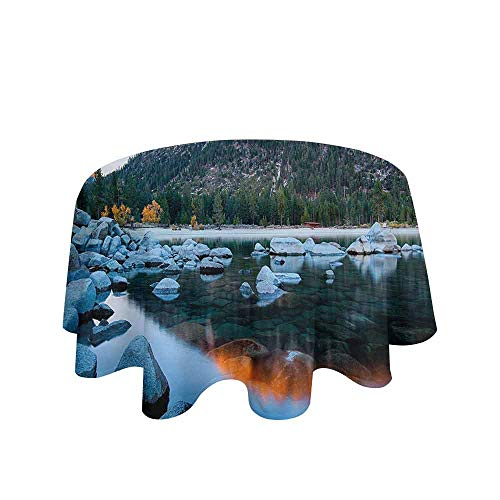 Lake Tahoe Waterproof Anti-Wrinkle no Pollution Rocks in a Lake Photo North American Landscape Sierra Nevada California USA Table Cloth D40 Inch Multicolor