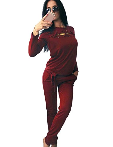 Velour Tracksuit Set Women Two Piece Lace up Crew Neck Long Sleeve Solid Sweatshirt with Long Pants with Waist Band, 3-wine Red, X-Large Velour Jumper Set