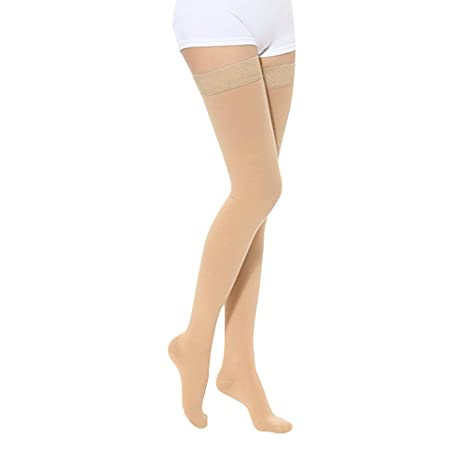 Compression Pantyhose 20-30 mmHg for Women & Men Firm Support Gradient Compression Open Black-XXL Helps Relieve Symptoms of Mild Varicose Veins