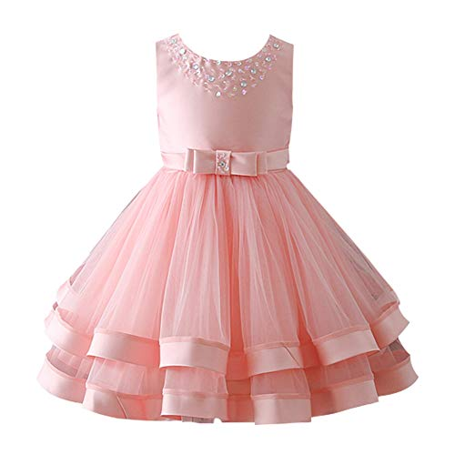 Glamulice Girls Ruffles Vintage Embroidered Sequins Lace Wedding Dress Party Bridesmaid Gown 2-16Y (7-8Y, Peach)
