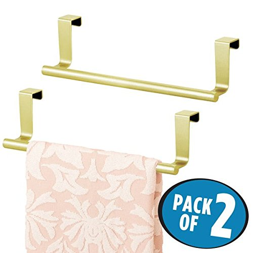 mDesign Decorative Kitchen Over Cabinet Stainless Steel Towel Bar - Hang on Inside or Outside of Doors, Storage and Display Rack for Hand, Dish, and Tea Towels - 9