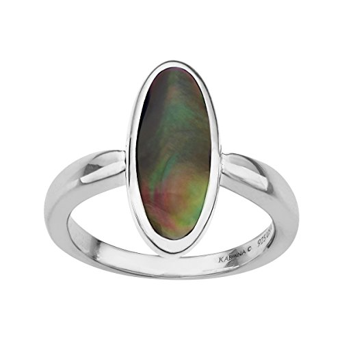 Kabana Black Natural Mother-of-Pearl Inlay Ring in Sterling Silver