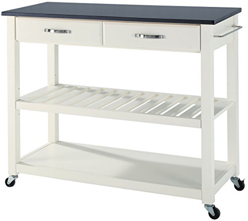 (Crosley Furniture Portable Kitchen Cart with Solid Black Granite Top -)