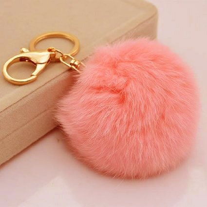 Miraclekoo Rabbit Fur Ball Pom Pom Key Chain Gold Plated Keychain with Plush for Car Key Ring or Handbag Bag Decoration (Light Pink)