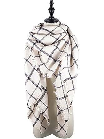 Zando Plaid Blanket Thick Winter Scarf Tartan Chunky Wrap Oversized Shawl Cape White Black Stripe