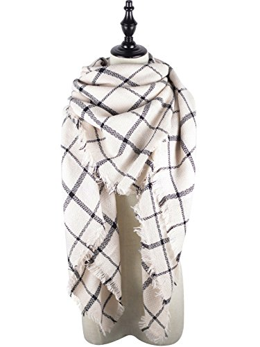 White Plaid Scarf (Zando Plaid Blanket Thick Winter Scarf Tartan Chunky Wrap Oversized Shawl Cape White Black Stripe)