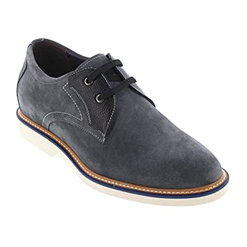 CALTO - Y42023-2.8 Inches Taller - Height Increasing Elevator Shoes - Nubuck Grey/Black Casual Shoes