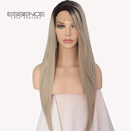 """24"""" Long Handmade Straight FENDI Ash Grey Ombre with Dark Roots Hand-Tied Heat Safe Quality Synthetic Lace Front Wig with Pre-plucked Custom Hairline and Baby Hairs (Medium Cap, Light Brown Lace)"""