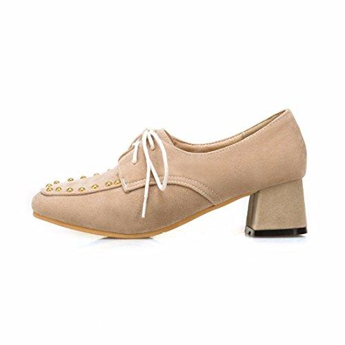 y de Zapatos en Beige y Americano Grandes Mujer el de Invierno de Zapatos con Europeo Mujer Tacón Invierno Zapatos aFRaqP