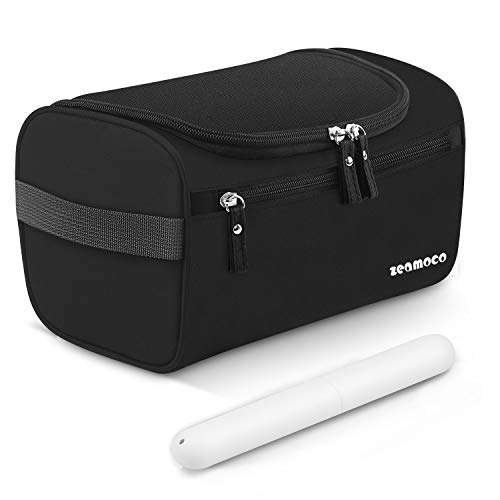 Zeamoco Travel Toiletry Bag Portable Dopp Kit with Toothbrush Case for Men Women Bathroom Shower Gym Shaving (Waterproof Oxford, Black)