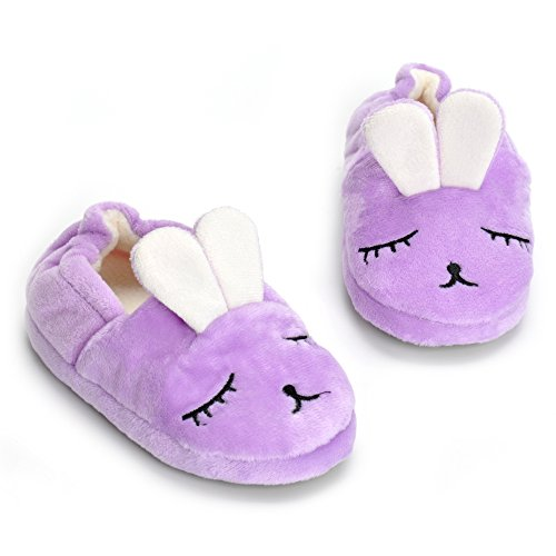 - Toddler Girls Purple Bunny House Slippers Warm Cartoon Cute Rabbit Animals Shoes Rubber Sole