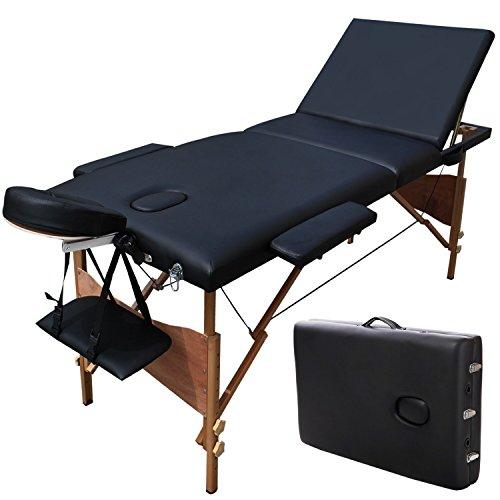 LUXUS 3 Zonen Massagetisch Massageliege Massagebank klappbar Massagestuhl (Schwarz)