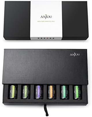 Anjou Essential Oils Top 6 Aromatherapy Oils 100% Pure & Therapeutic Grade, Basic Sampler Gift Set, 6 / 10 ml (Lavender, Tea Tree, Eucalyptus, Lemongrass, Orange, Peppermint) 