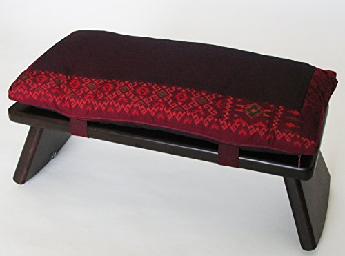 Meditation Bench & Cushion Set - Folding Seiza - Ikat Burgundy Border