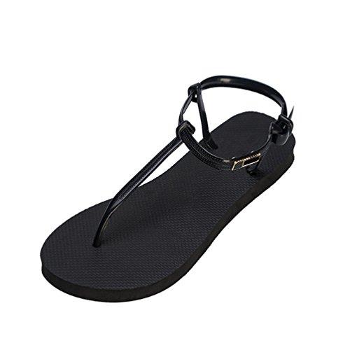 Open Flip Infradito Spiaggia Sandali Yiiquanan Eleganti Scarpe da Toe Nero Flop Slipper Piscina Scarpe Bohemia Donna Estive UXT0zZT