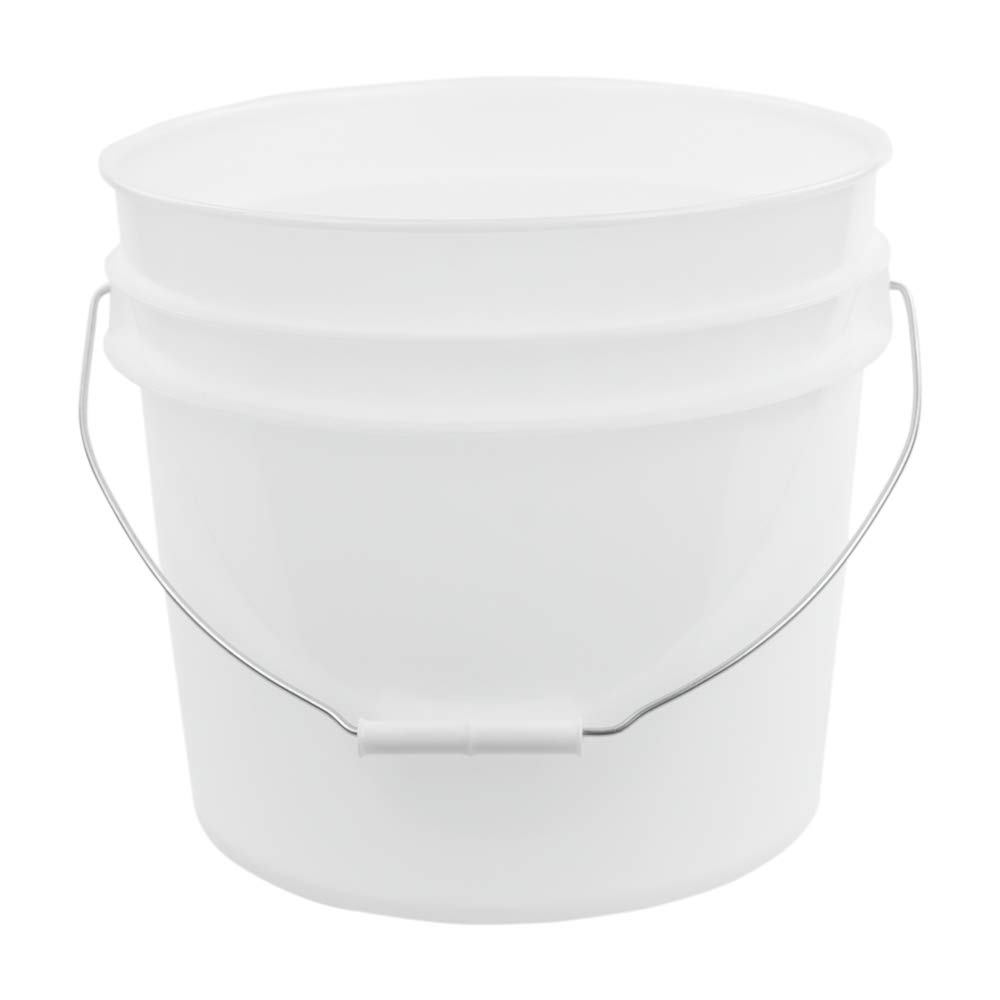 3.5 Gallon Natural White High Density Plastic Bucket with Pour Spout Lid (4 Buckets)