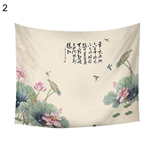 (wintefei Chinese Painting Gongbi Style Lotus Peony Mountain Wall Hanging Tapestry Decor 2# )