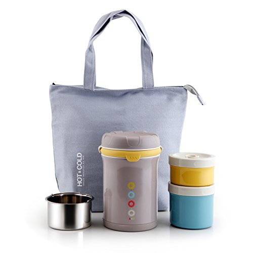 AKS Vacuum Insulated stainless steel lunch jar, with a tote colder bag (Gray)