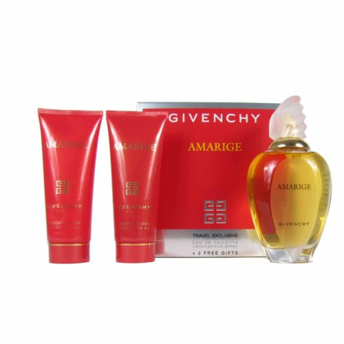 Givenchy Amarige Gift Set w/ Eau De Toilette Spray 1.7 Oz. + Silk Body Veil 2.5 Oz. + Delicate Bath Gel 2.5 (Silk Body Veil)