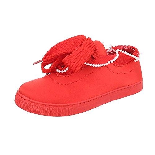Sneaker Donna Rosso Ital Sneakers Piatto Scarpe Da Low design 7qn1xFI