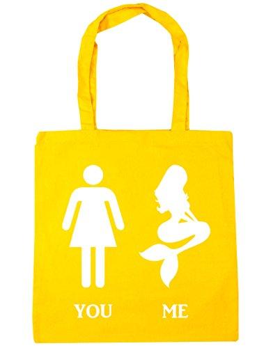 HippoWarehouse Lustig Körper Vergleich Meerjungfrau Versus You Einkaufstasche Fitnessstudio Strandtasche 42cm x38cm, 10 liter - Gelb, One size