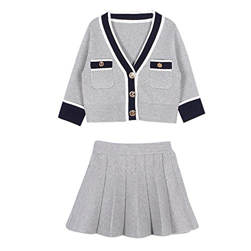 Kid Girls Cute Sweater Coat Pleated Skirt Party Wedding Dress Outfits ()