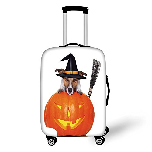 Travel Luggage Cover Suitcase Protector,Halloween,Witch Dog with a Broomstick on Large Pumpkin Fun Humorous Hilarious Animal Print,Multicolor,for -