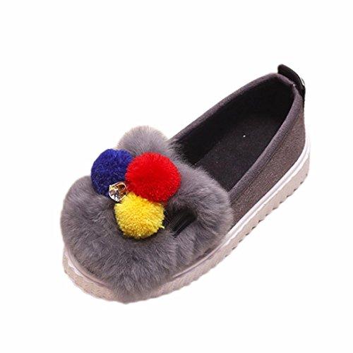 JIANGFU Kinder Kind Mädchen Fashion Hairball Solid Crystal Warm Sneaker Schuhe, Kinder Mädchen plus Samt Schuhe Skid Wolle Diamant warme Student Schuhe Gray