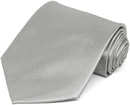 TieMart Mercury Silver Extra Long Solid Color Necktie, 63