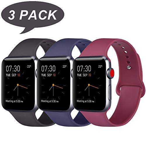 ATUP Compatible Apple Watch Band 38mm 40mm 42mm 44mm Women Men, Soft Silicone Band Compatible iWatch Series 4, Series 3, Series 2, Series 1