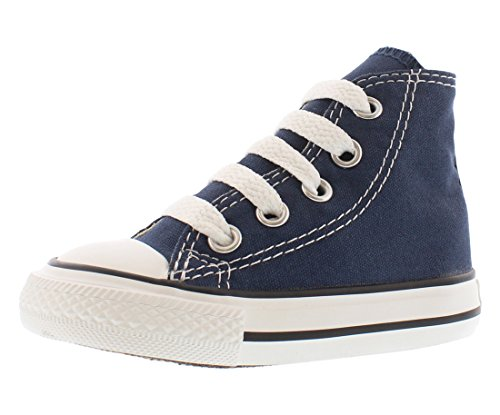 Converse Kids' Chuck Taylor All Star Canvas High Top Sneaker, Navy, 8 M US Toddler