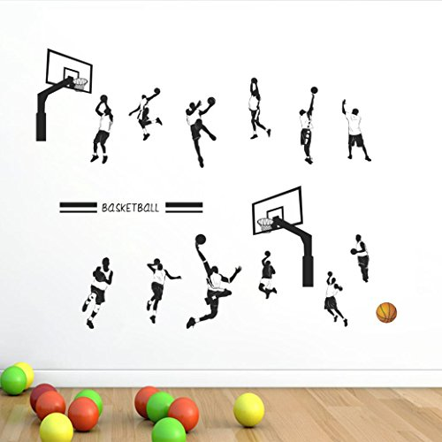 Rumas DIY NBA Basketball Wall Stickers, Kids' Room Decor, Removable Wall Mural for Baby Room Bedroom Basketball Enthusiast (Multicolor)